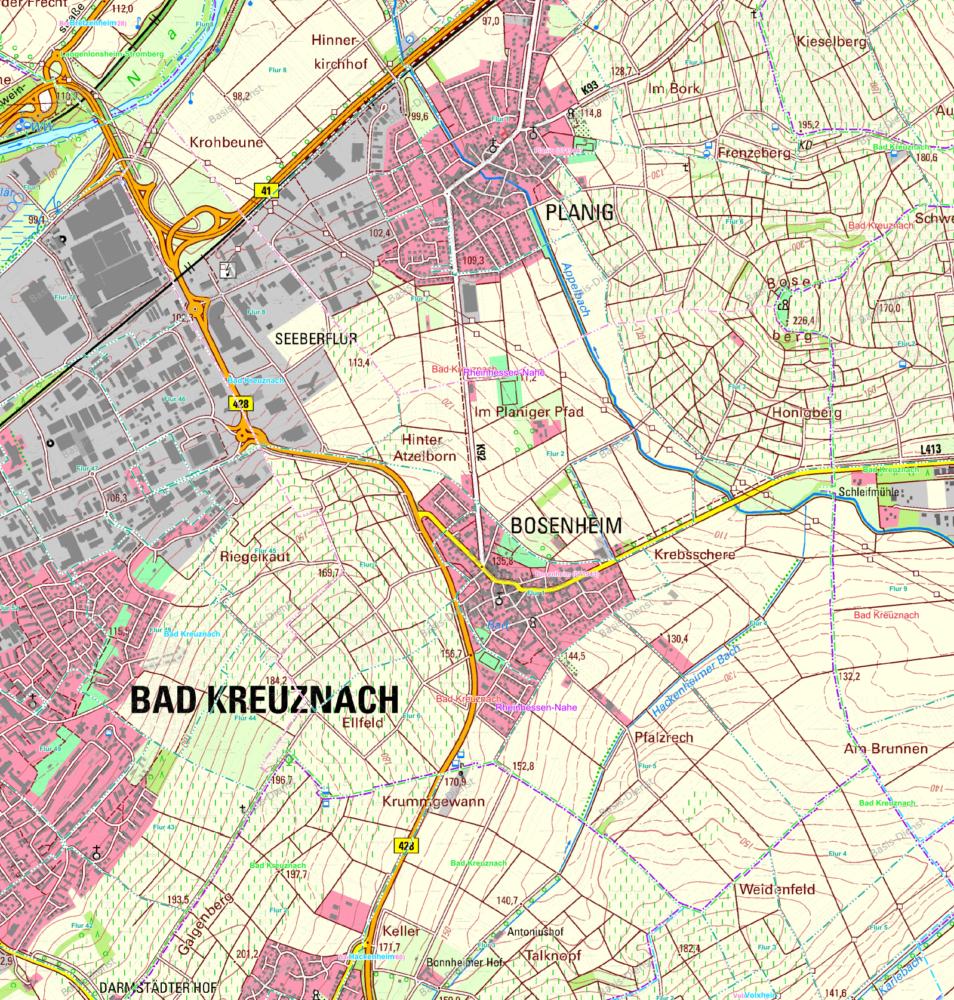 Bosenheim Gemarkungen Karte AUS