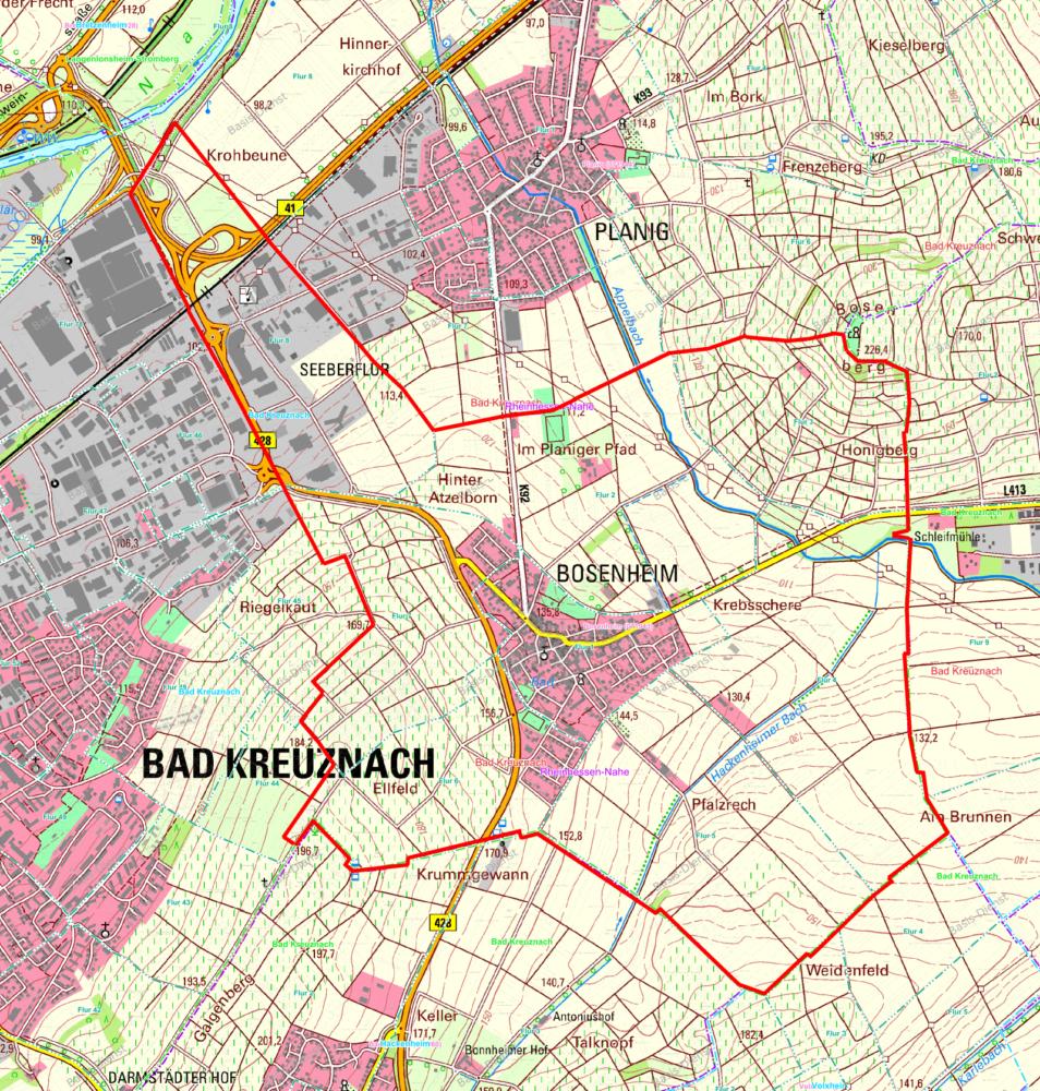 Bosenheim Gemarkungen Karte EIN
